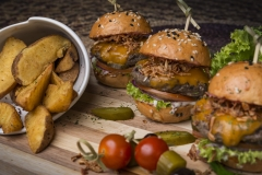 Beef Sliders with Wedges - Food Photography