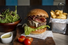 Beef Burger with Potato Wedges - Food Photography